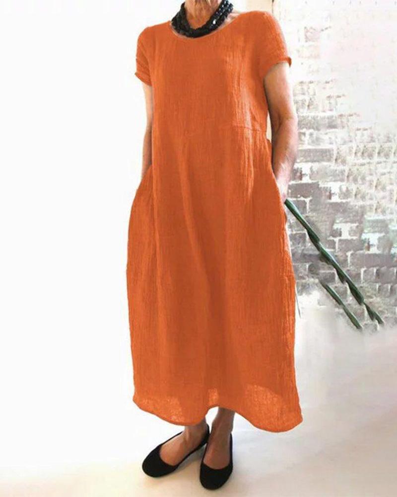 Short Sleeve Pocket Design Casual Dress