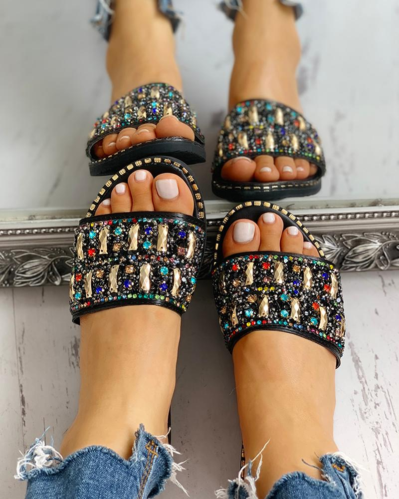 chicme / Colorful Studded Sequins Detail Flat Sandals