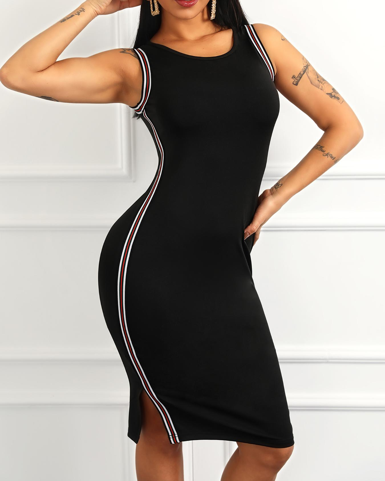 Sleeveless Striped Tape Detail Bodycon Dress фото
