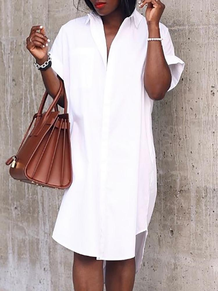 Roll-Up Short Sleeve Irregular Button Shirt Dress