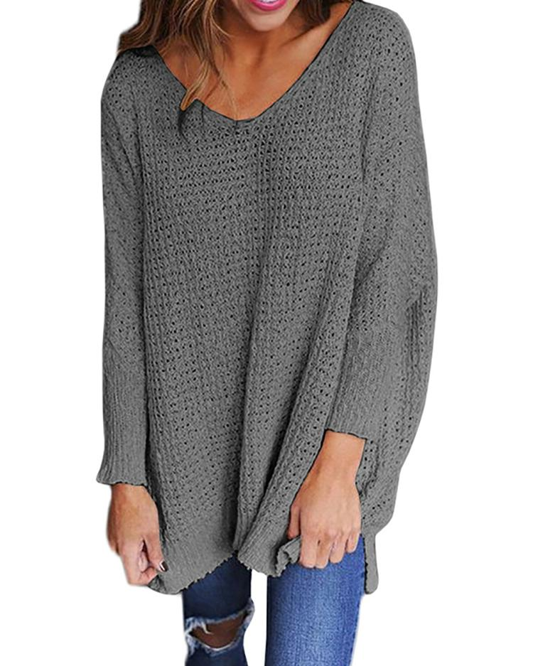 Solid V Neck Loose Sweater фото