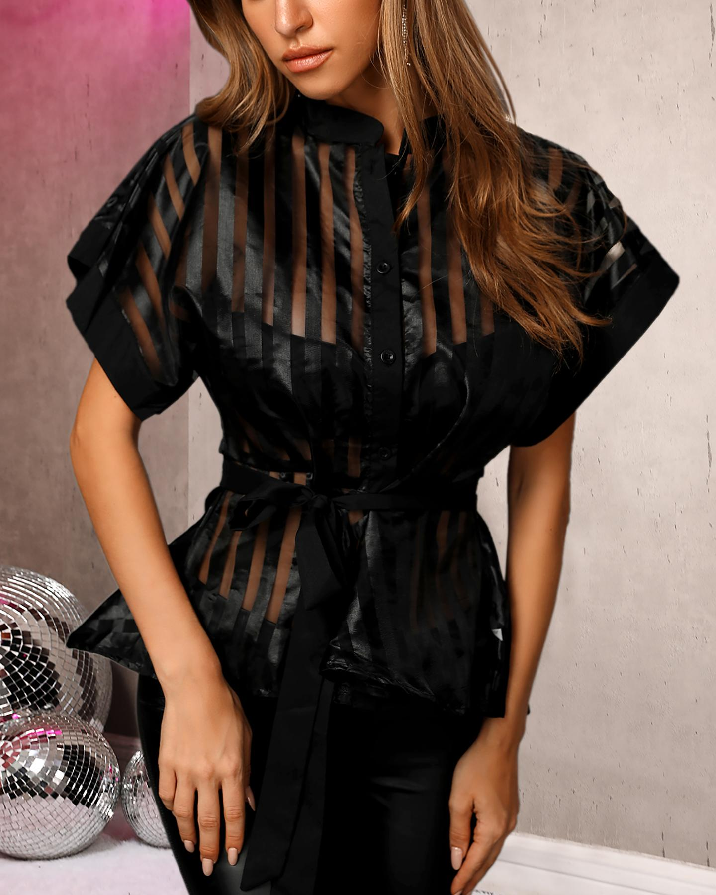 Striped See Through Buttoned Tied Waist Shirt фото