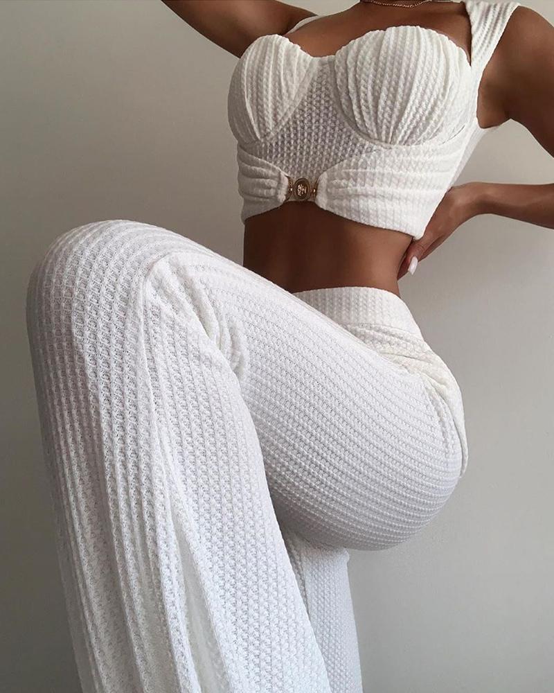 joyshoetique / Ruched Crop Top & High Waist Pants Set