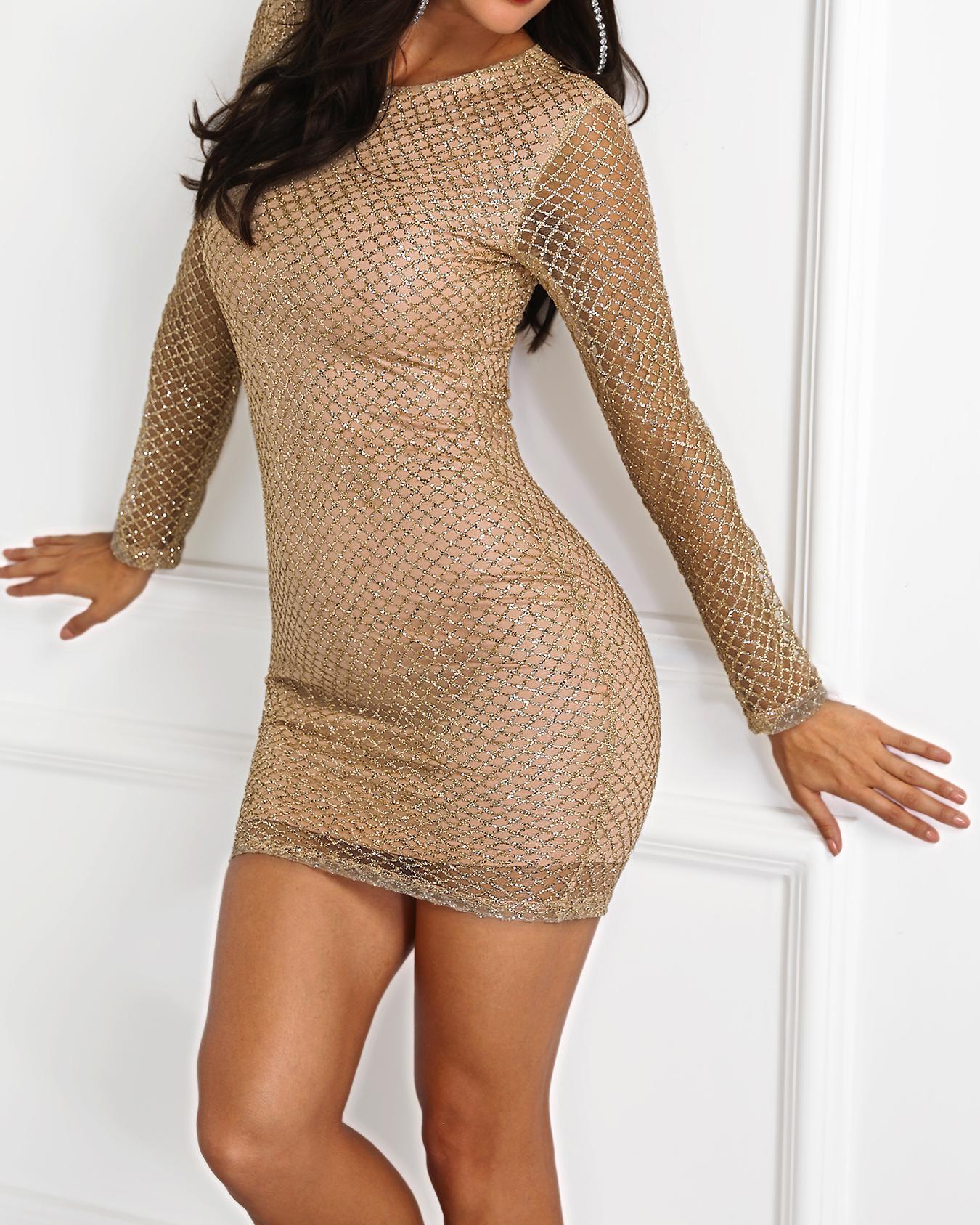 Shiny Long Sleeve Bodycon Dress