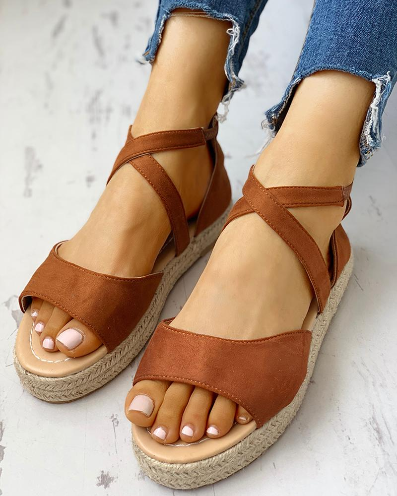 Suede Crisscross Strap Espadrille Sandals