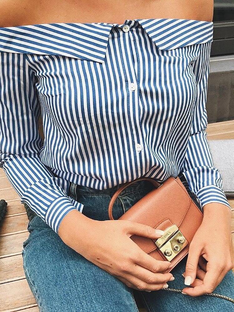 Trendy Stripe Print Off Shoulder Shirt Blouse