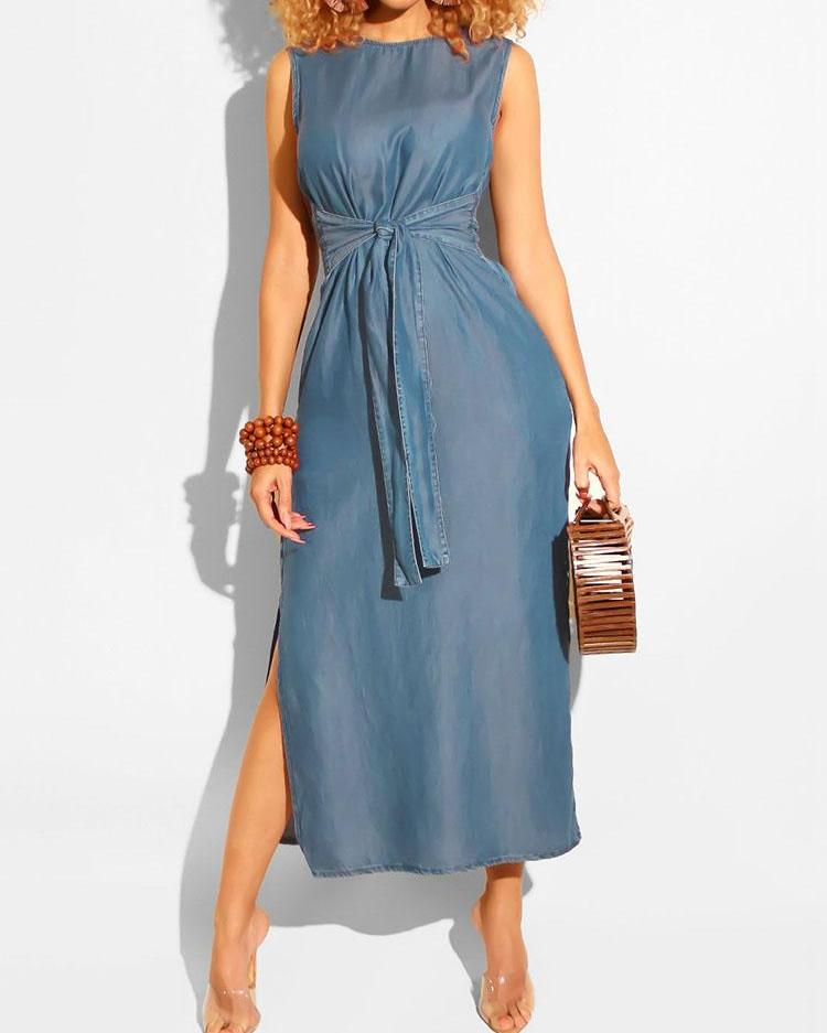 Sleeveless Knotted Front Slit Denim Dress