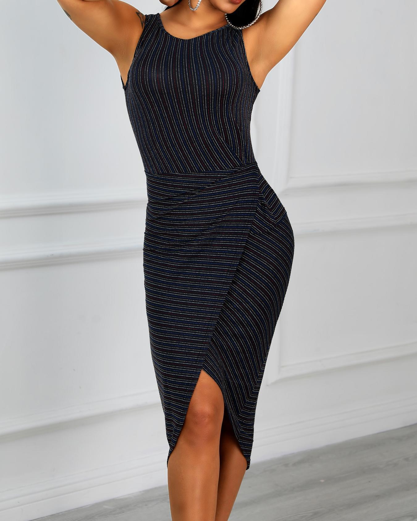 Shiny Stripes Scrunched Irregular Party Dress