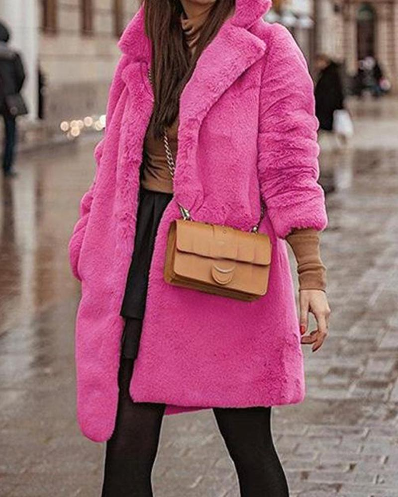 Hot Pink Collar Fluffy Coat