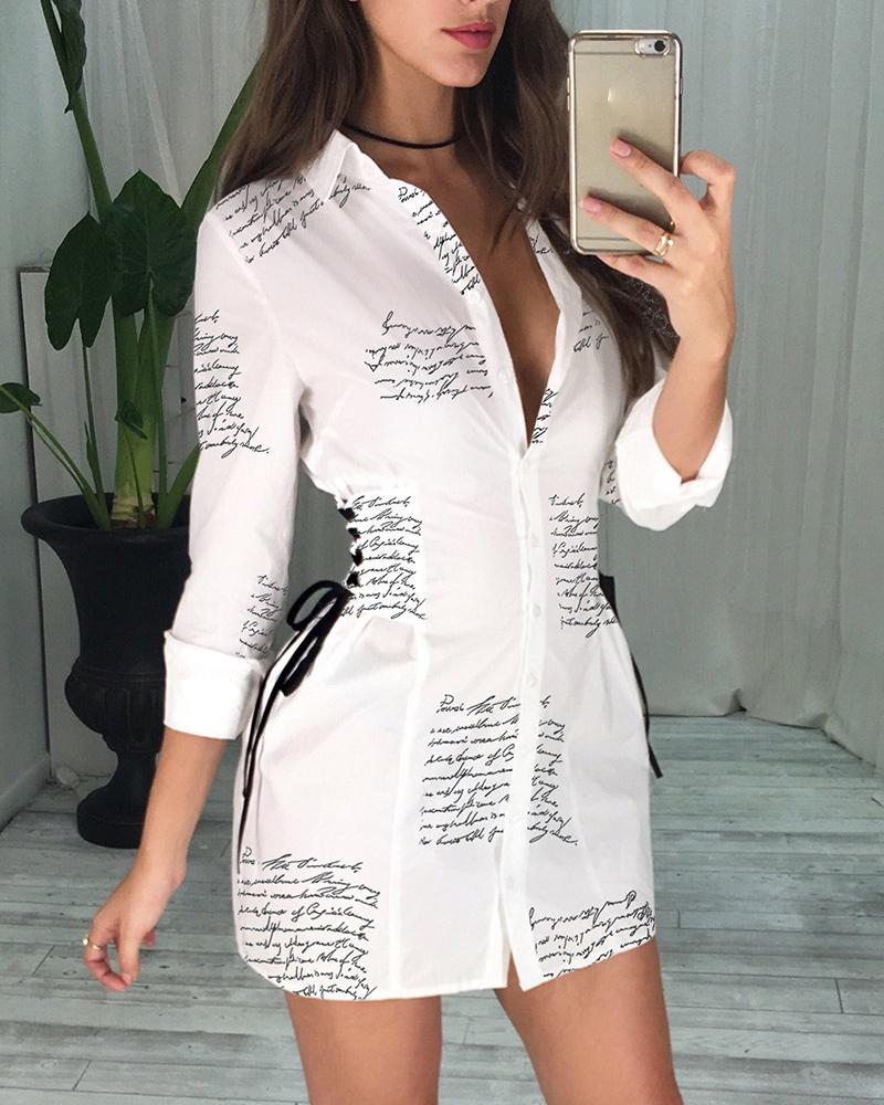 chicme / Letter Print Lace-Up Detail Shirt Dress