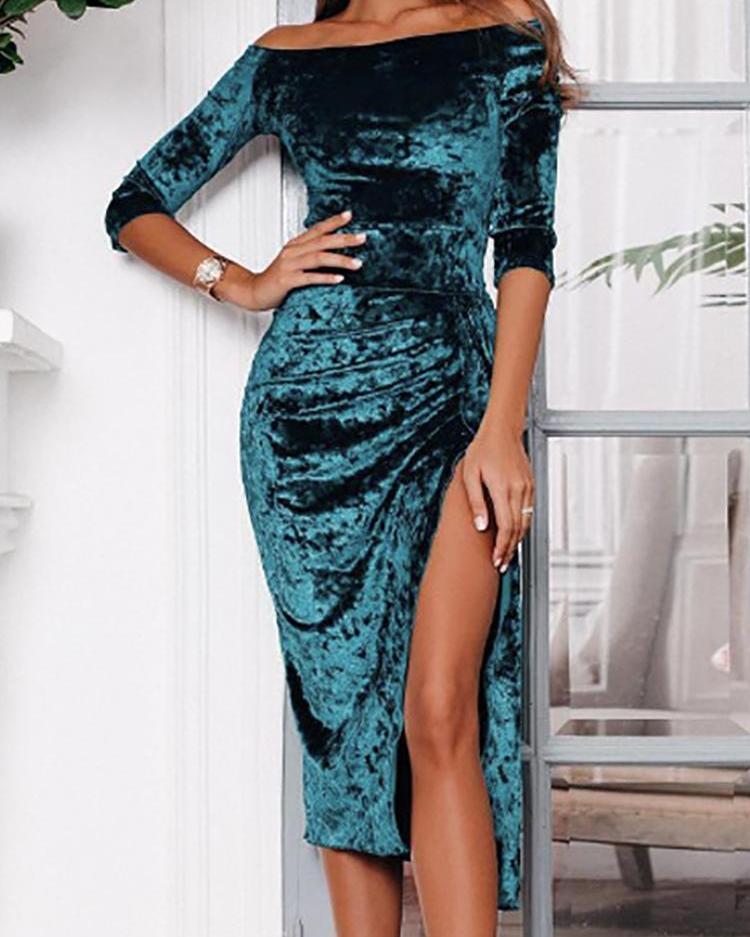 Velvet Off Shoulder Ruched High Slit Dress