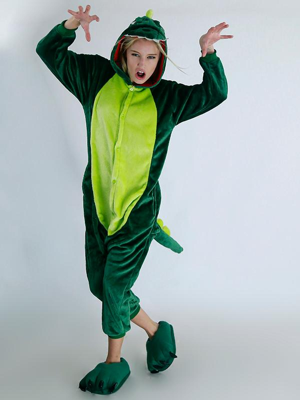 Unisex Cute Green Dinosaur Cartoon Onesies Animal Pajamas
