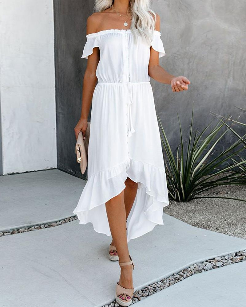Off Shoulder Ruffle Asymmetric Dress фото