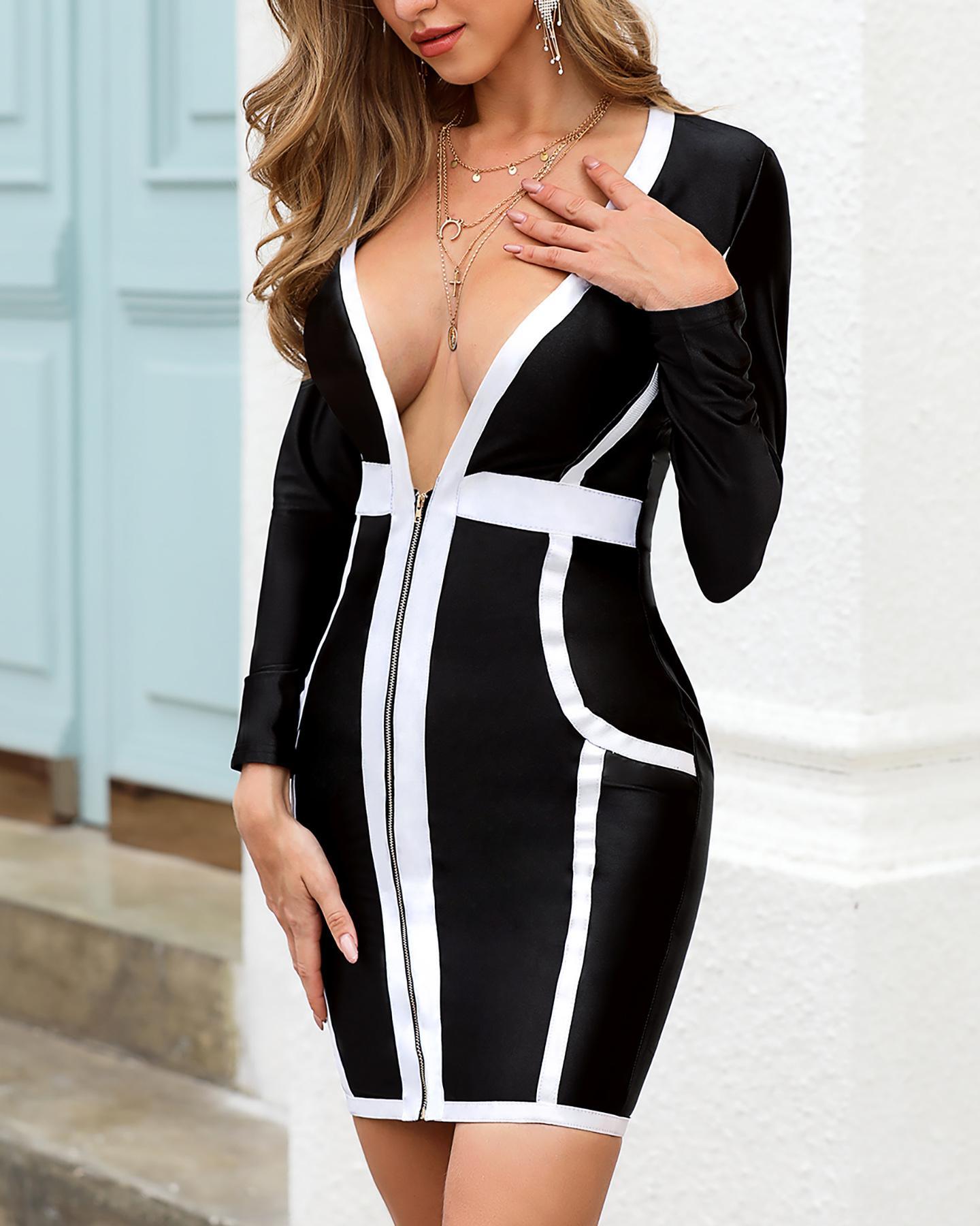 Deep V-Neck Contrast Color Zipper Bandage Dress фото