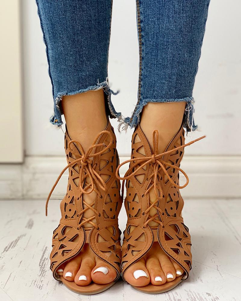 boutiquefeel / Oco Out Sandálias de cunha PU com cordões
