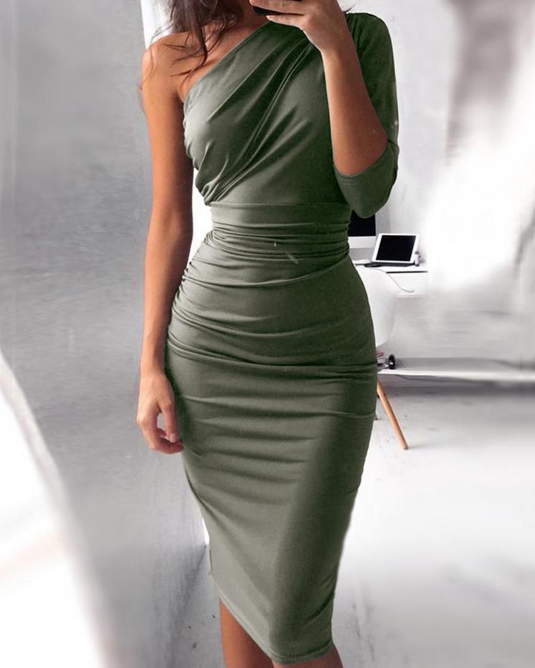 eab78cd9d89b One Shoulder Scrunch Self-belted Bodycon Dress, Orange;wine red;army green  - chicme.com - imall.com