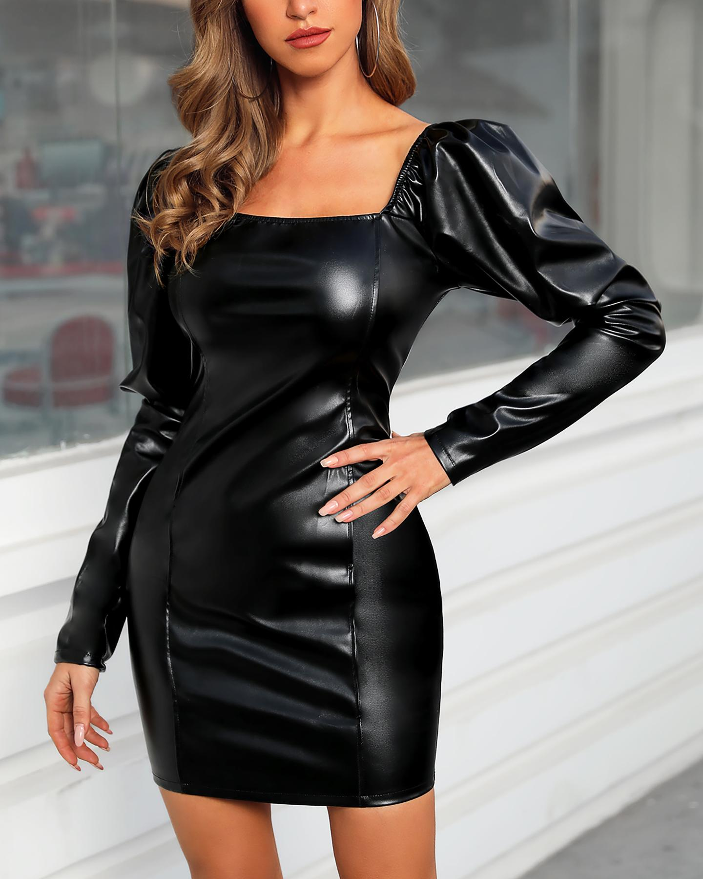 Solid Square Neck Puff Sleeve PU Bodycon Dress фото