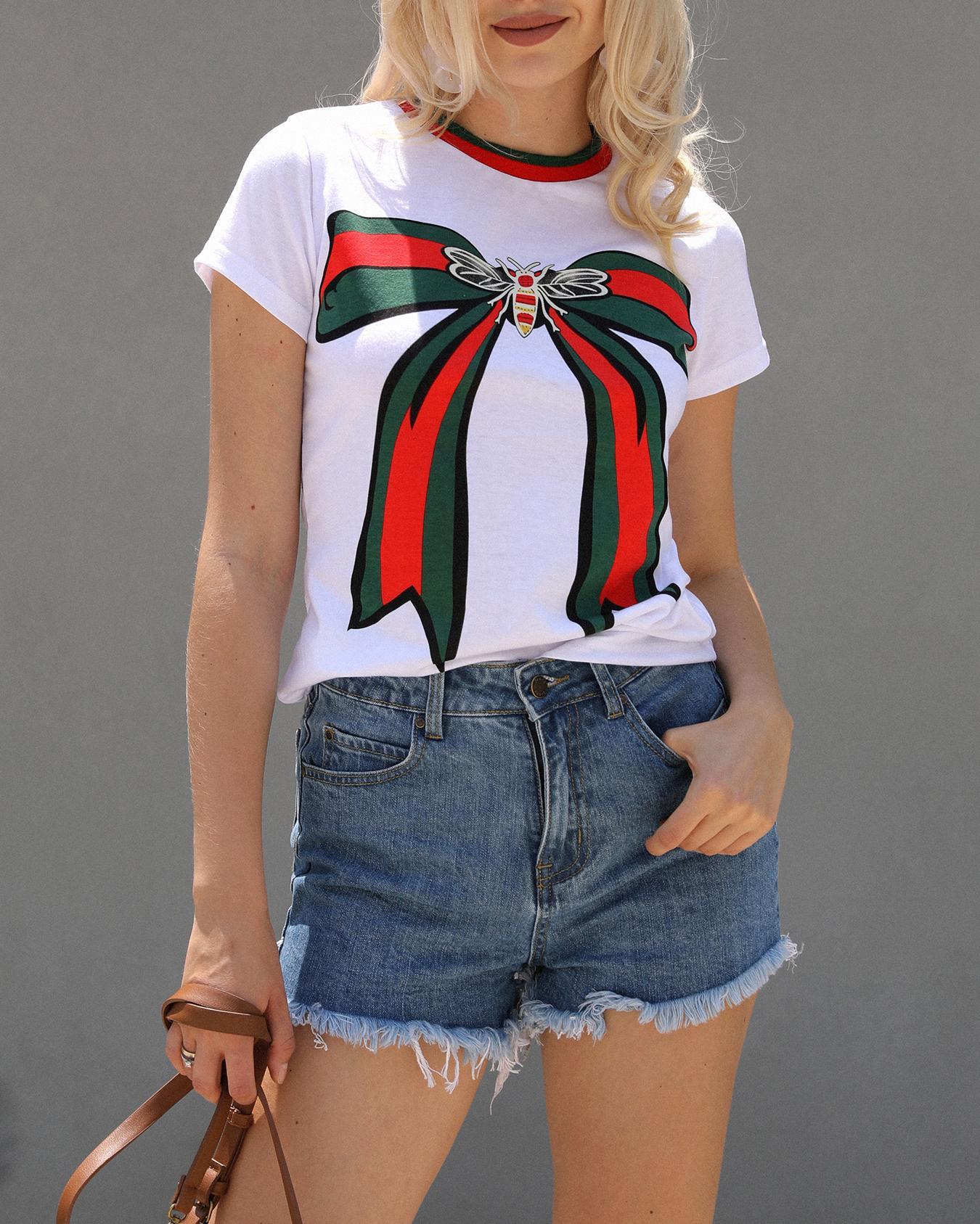 Oversize Bowknot Striped Print Short Sleeve T-shirt фото