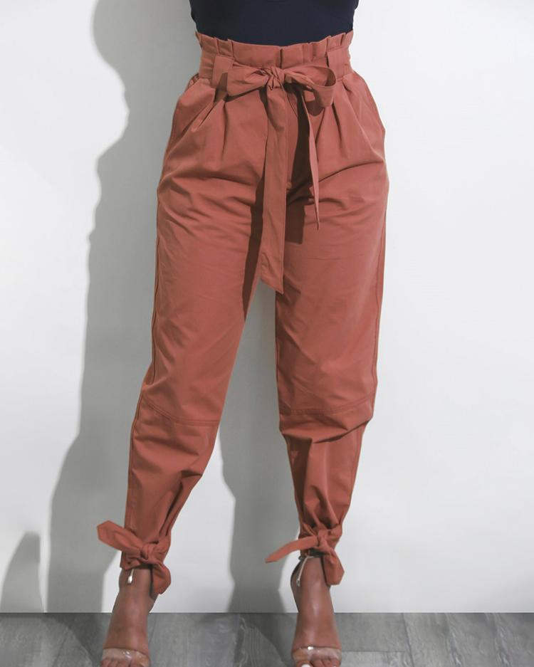 Solid Ankle Tie High Waist Pants