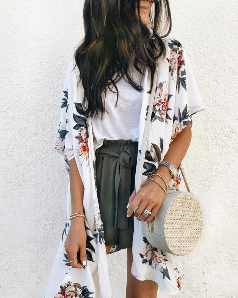 Floral Print Short Sleeve Coat