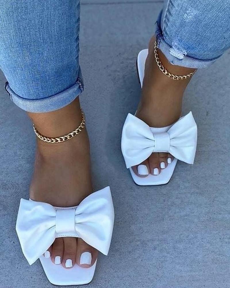 Bowknot Open Toe Flat Sandals фото