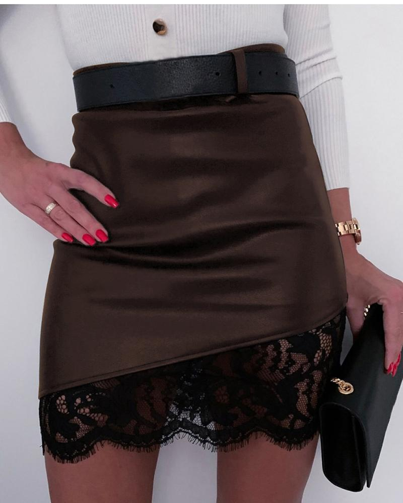 Faux Leather Lace Design Skirt фото