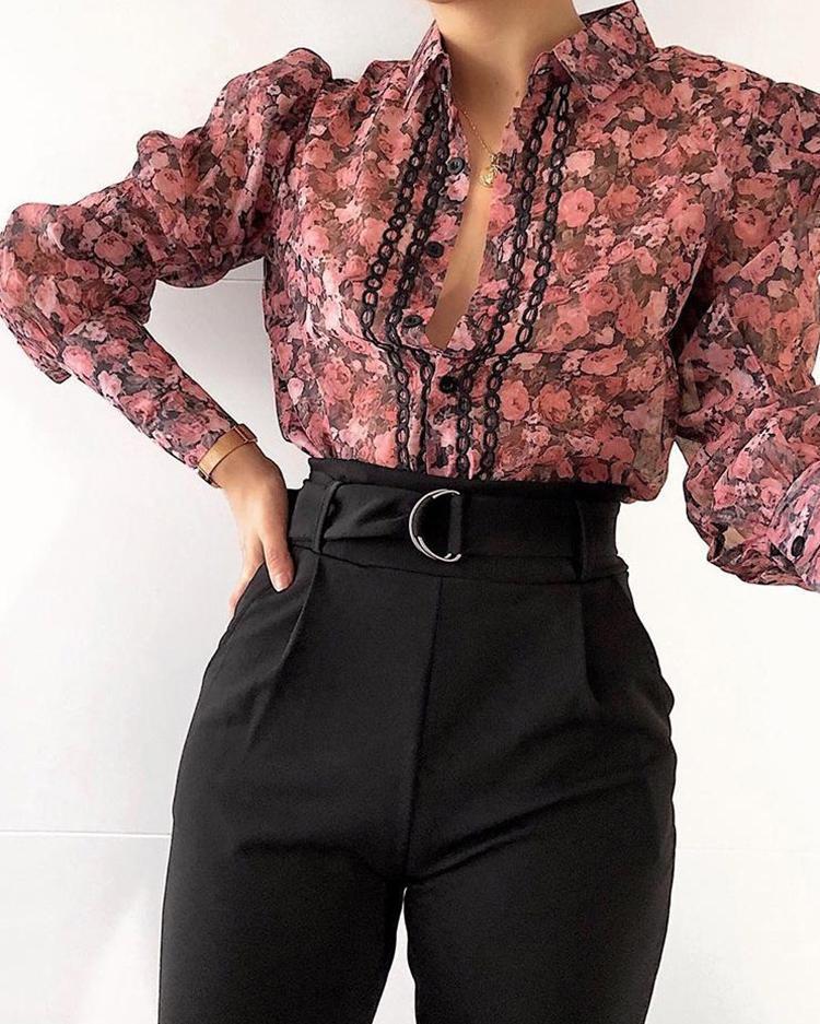 Floral Print Plunge Puff Sleeve Bodysuit