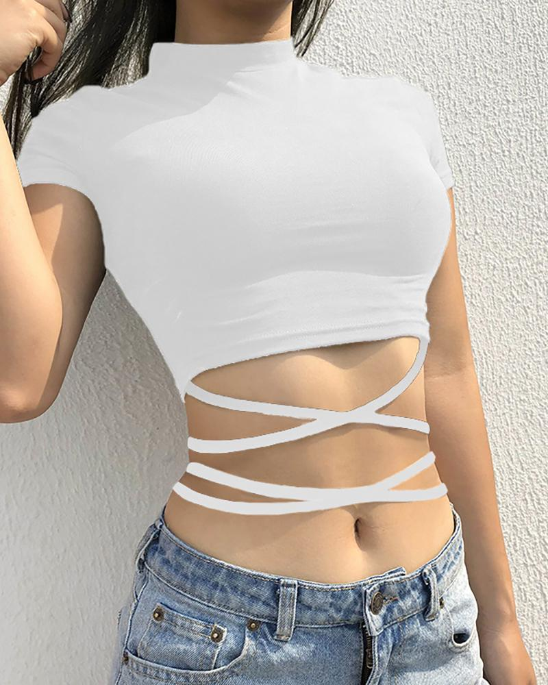 Lace-Up Solid Casual Crop T-Shirt фото