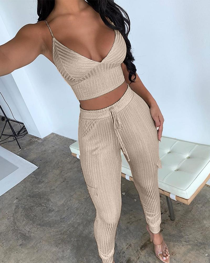 chicme / Ribbed Crop Top + Trousers Set
