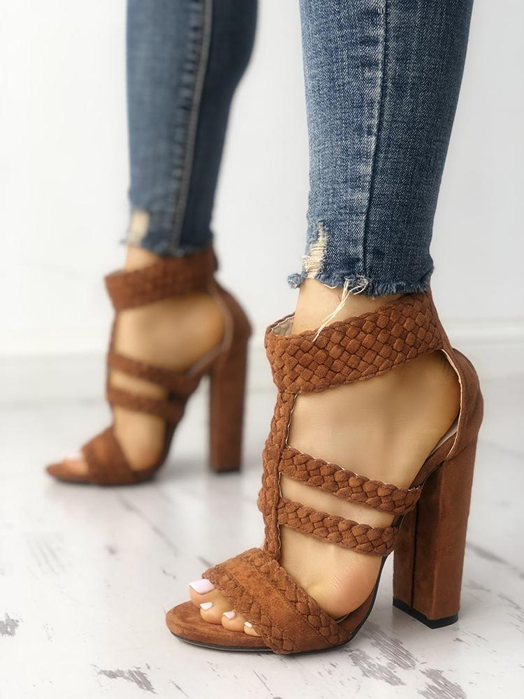 Solid Braided Zipper Chunky Heeled Sandals