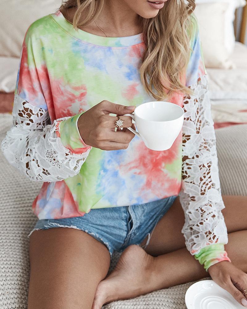 Crochet Lace Sleeve Tie Dye Print Casual Top фото