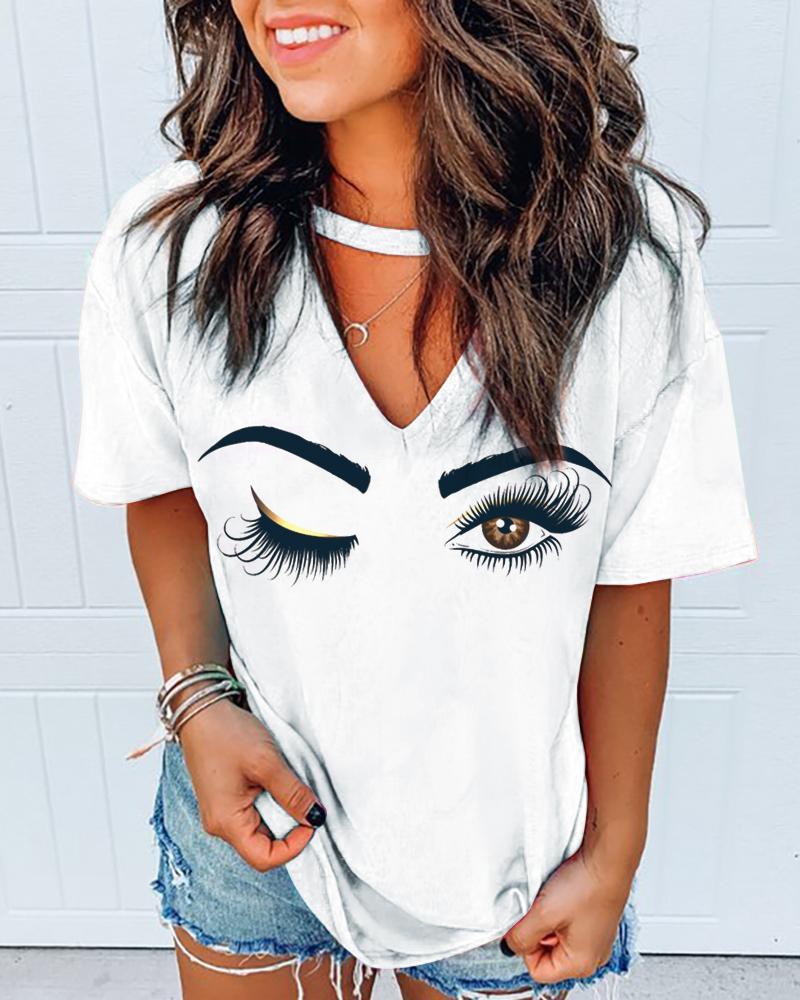 Eyes Print Cutout Front Casual T-shirt фото