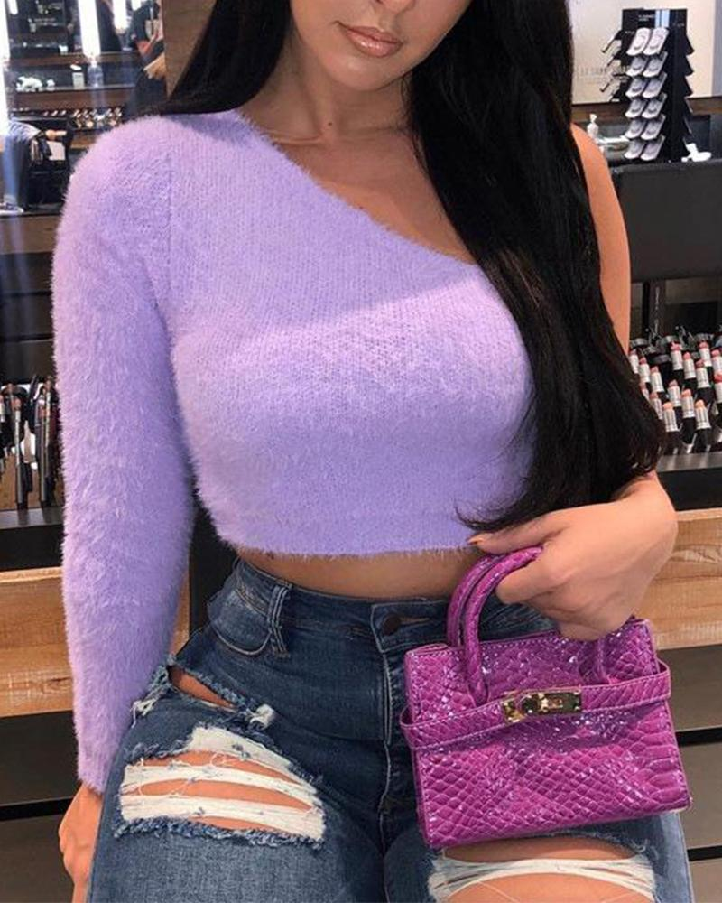 Purple One Shoulder Fluffy Crop Top фото