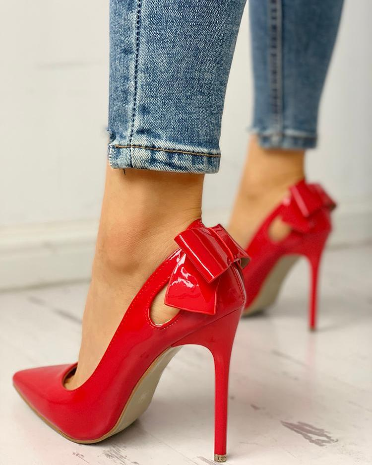 Pointed Toe Bowknot Cutout Thin Heels, Red