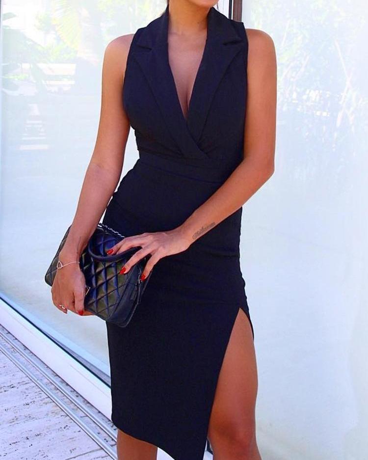 Solid Sleeveless V Neck Thigh Split Blazer Dress фото