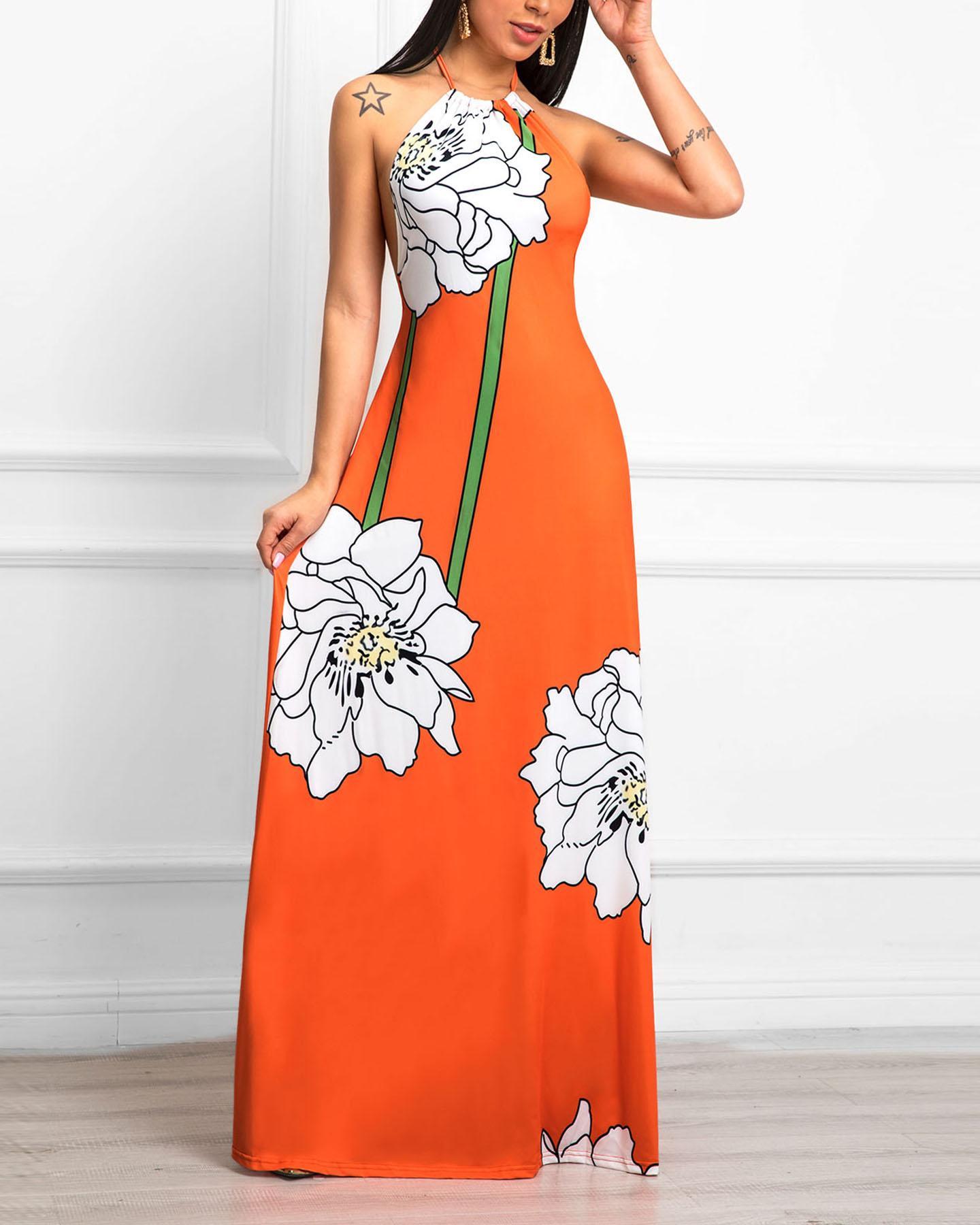 Floral Print Open Back Halter Maxi Dress
