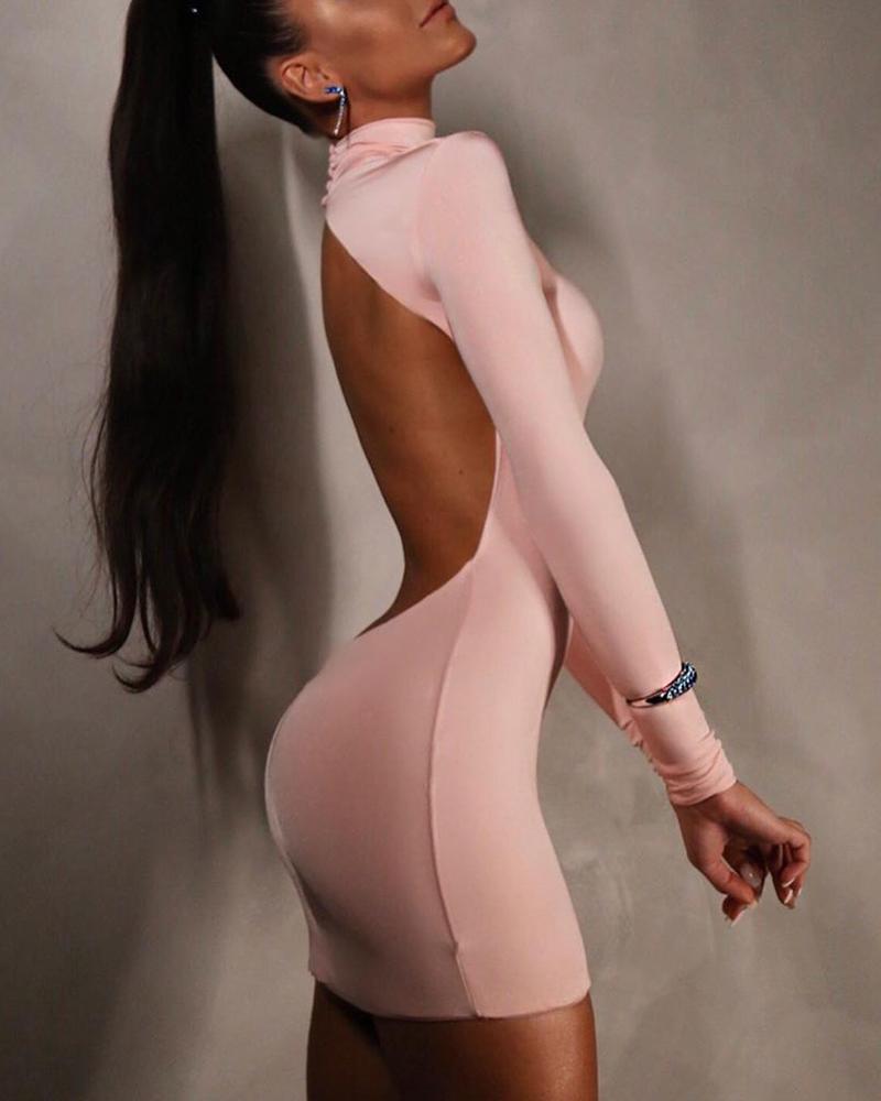 Open Back Long Sleeve Bodycon Dress фото