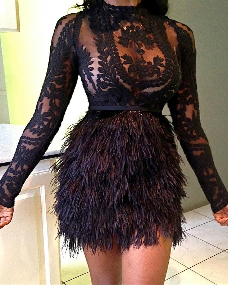 See Through Lace Top With Faux Fur Skirt Set фото