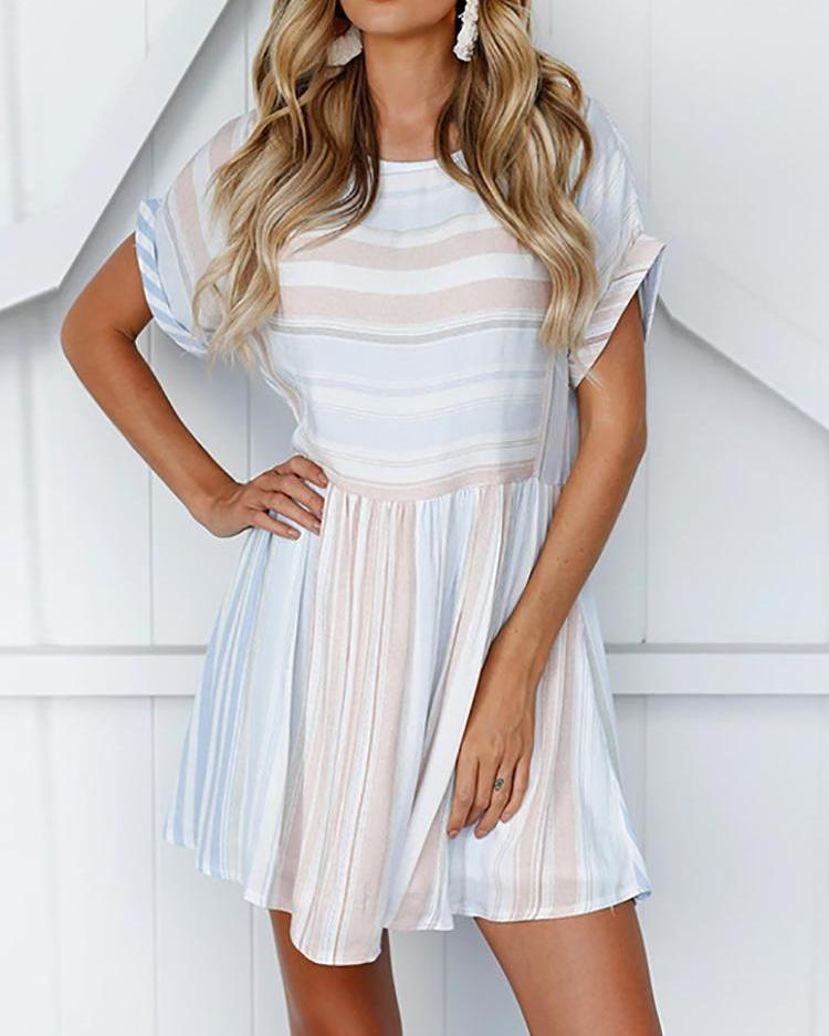 Roll-up Sleeve Striped Pleated Casual Dress фото