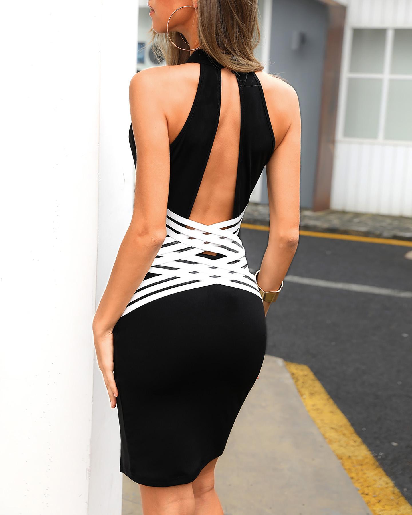 Colorblock Bandage Crisscross Back Bodycon Dress