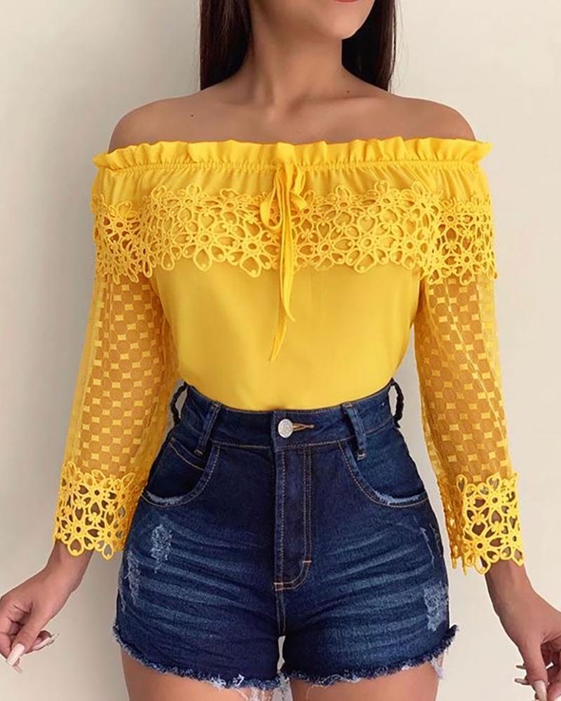 boutiquefeel / Blusa informal de encaje de ganchillo fuera del hombro