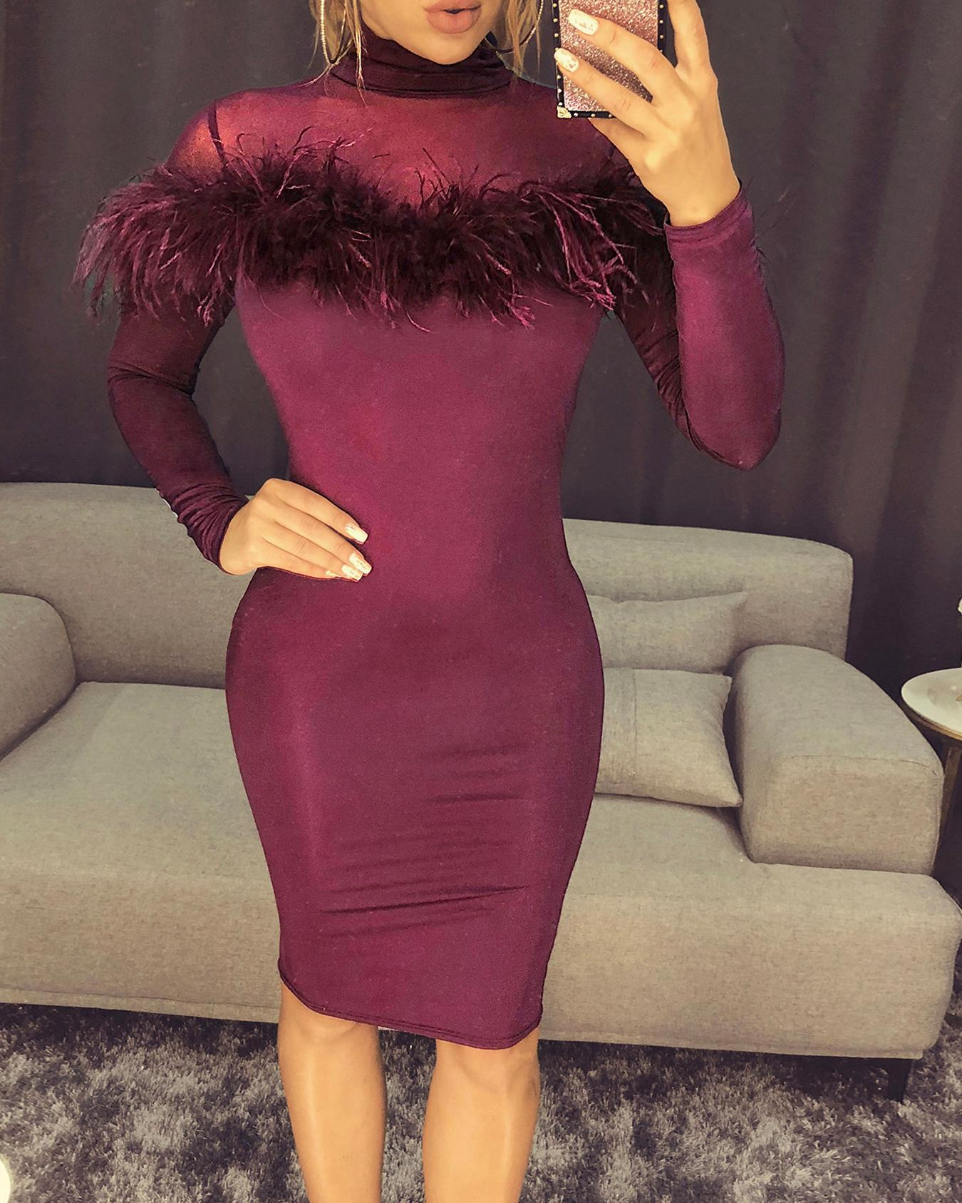 Feather Embellished Long Sleeve Party Dress фото