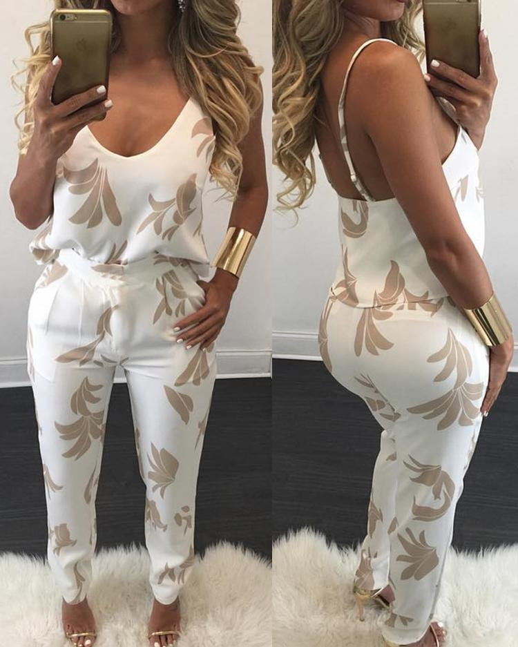 ivrose / Stylish Women Spaghetti-strap Print Pantsuit