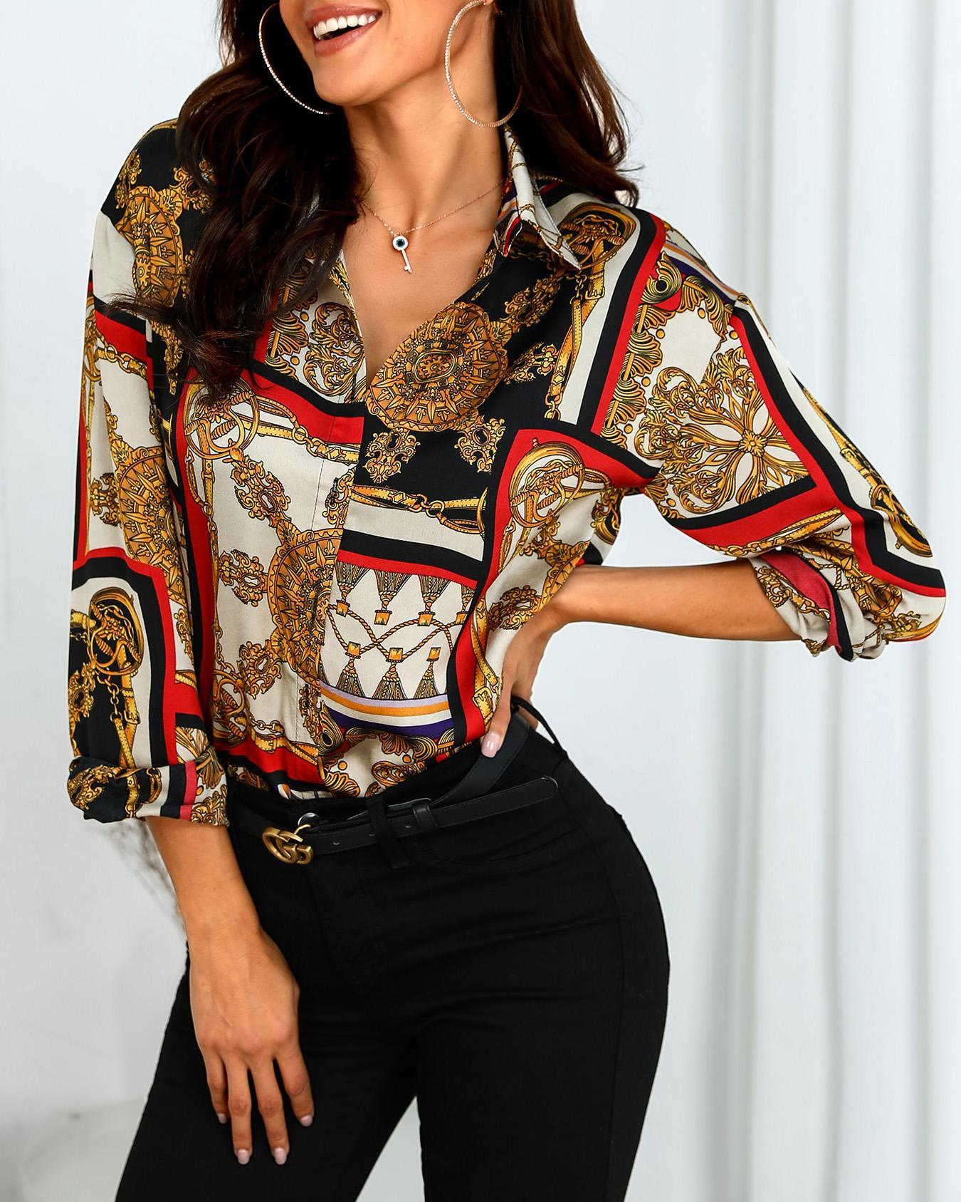 Scarf Print Long Sleeve Casual Shirt, Multicolor