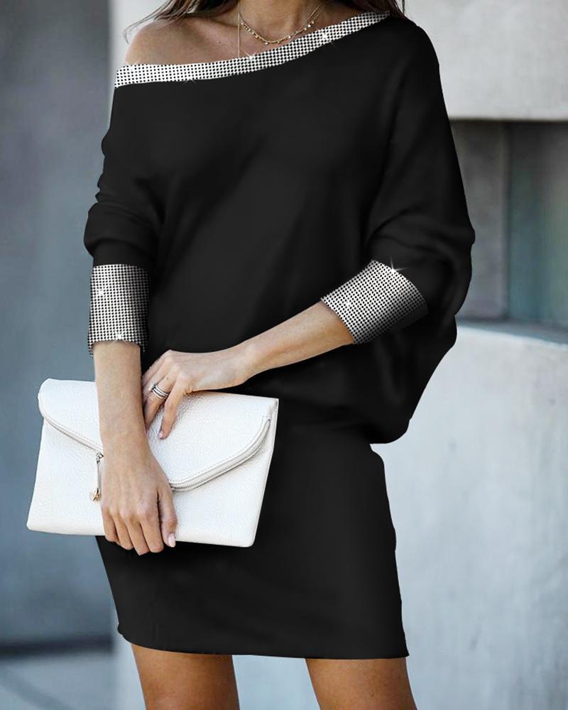 Asymmetric Neck Glitter Studded Dress фото