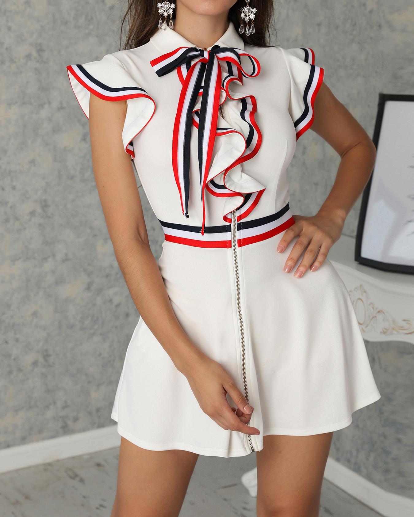 Striped Tape Ruffles Trim Tied Neck Casual Dress