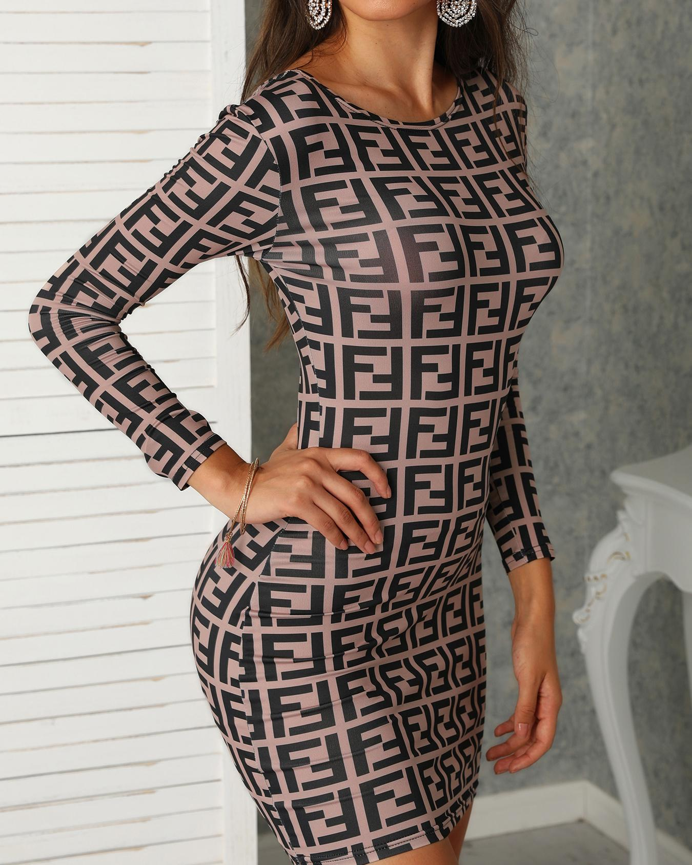 F Inspired Print Lace-Up Back Bodycon Dress