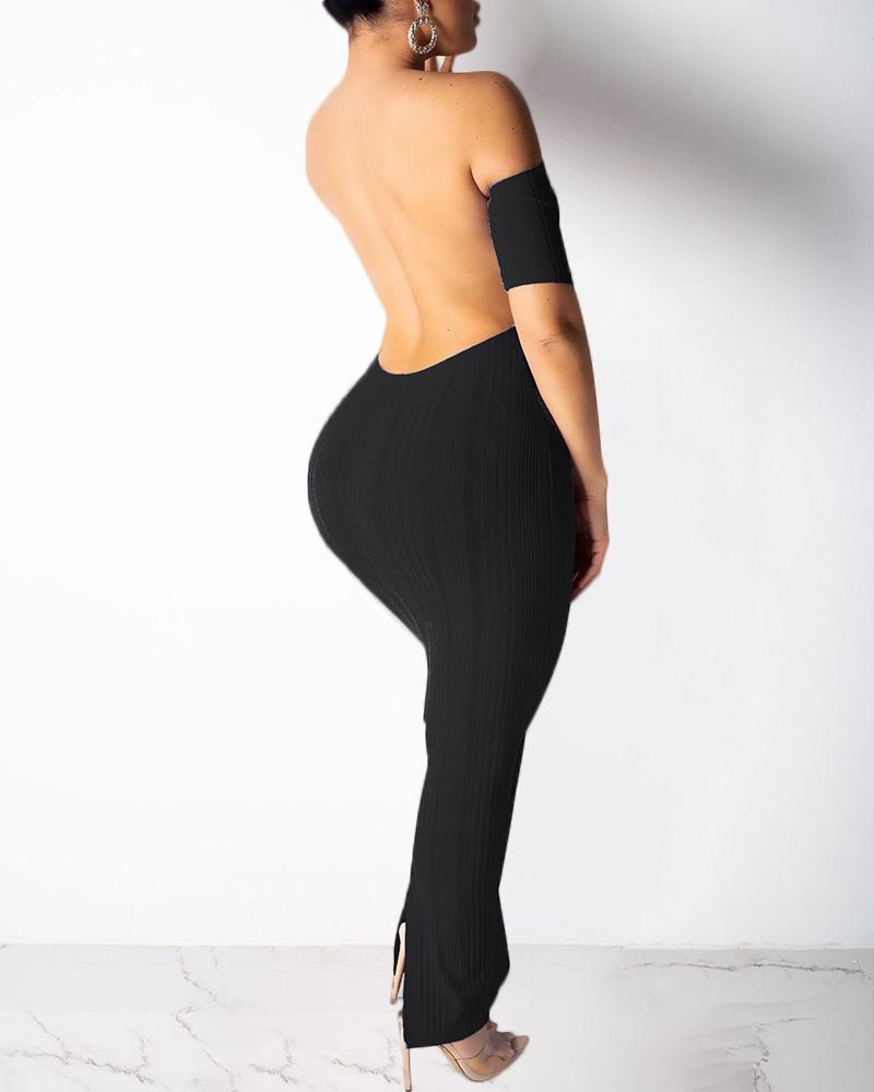 Open Back Off Shoulder Maxi Dress фото