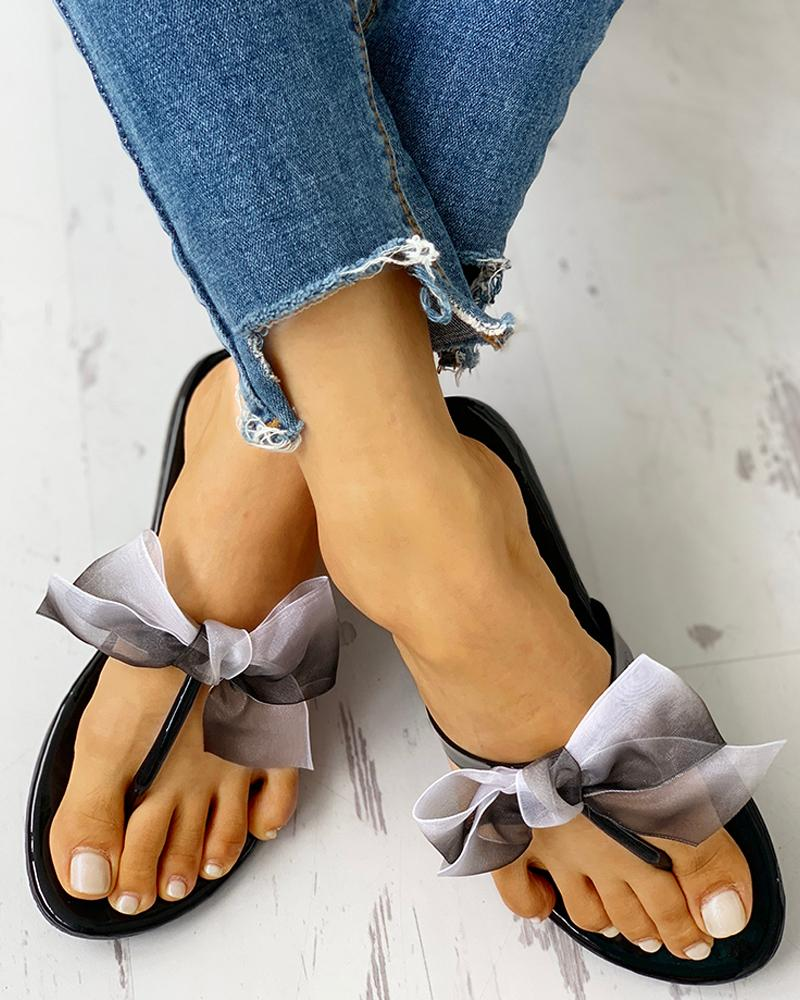 chicme / Bowknot Design Toe Post Sandals