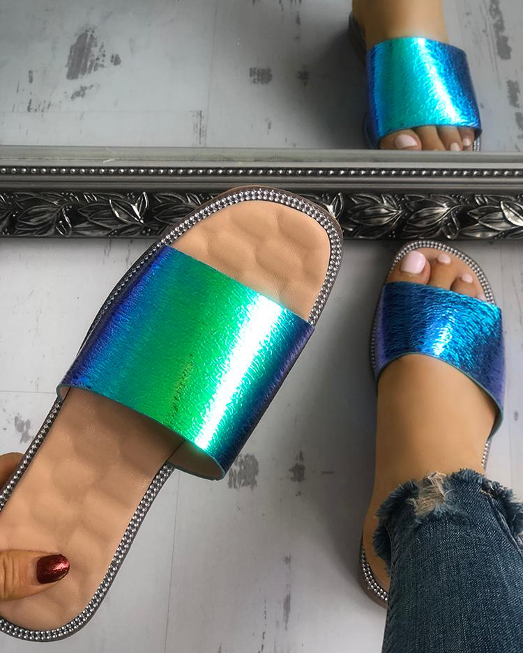Smooth Shiny Single Strap Open Toe Slippers, Green;blue